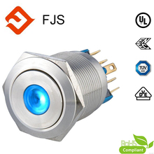 IP65 1no1nc Latching Dot Illuminated Stainless Steel 22MM Anti Vandal Push Button Switch