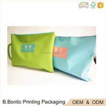 China wholesale printing waterproof zip lock document zipper pouch carry bag with handle