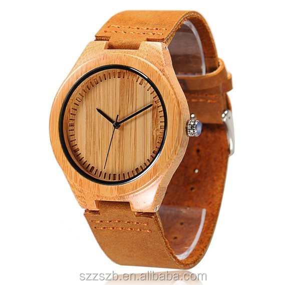 Natural Bamboo Wooden Watch with Genuine Brown Leather Strap Japanese Quartz Movement Casual Watches
