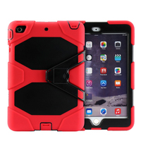 Factory wholesale price 3 in 1 PC+Silicone hybrid case cover for ipad mini 4 with kickstand case