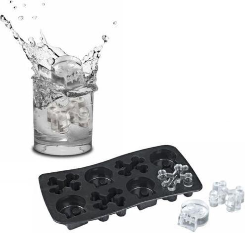 Skull& Bone shaped Silicone Ice Cube Tray/FDA Approved BPA Free Silicone Skull& Bone shaped Ice Cube Mold