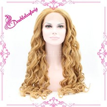 Synthetic hair body wave blonde wig cospaly best sell in america frozen elsa wig fashion lacefront wig for white women