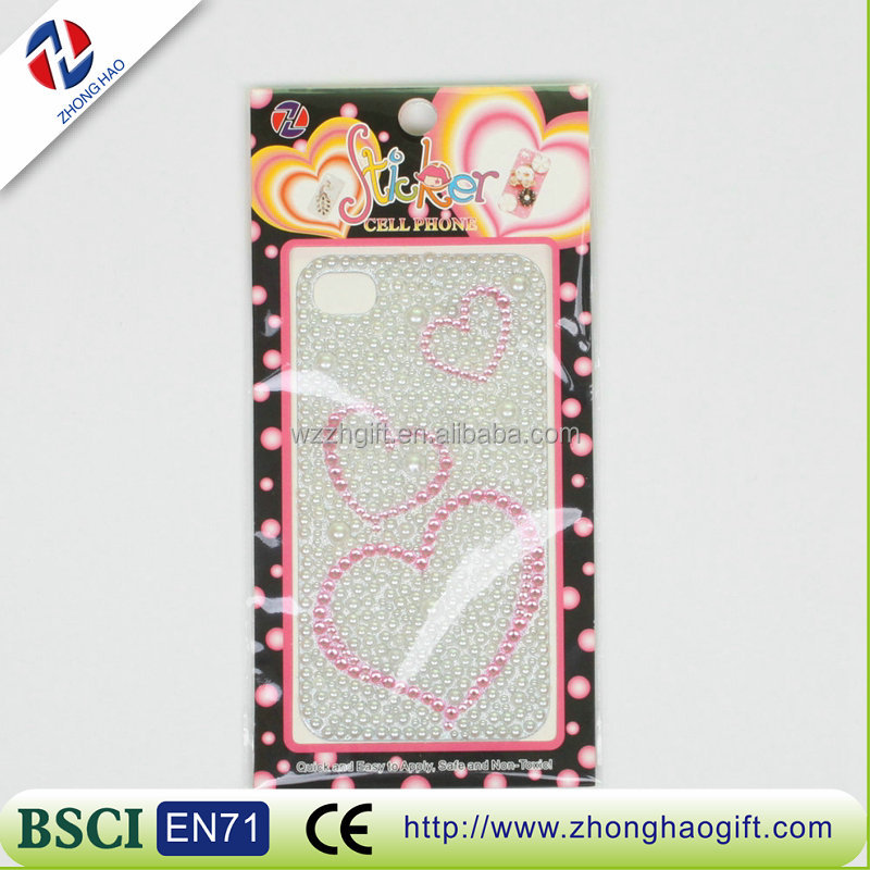 Latest heart shape Crystal Mobile Phone Case Sticker
