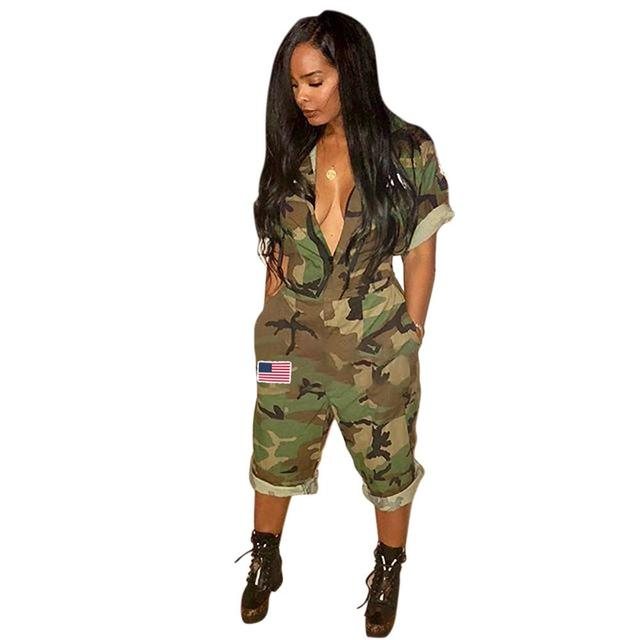 Newest July Fourth Women's Cool Camouflage Printed Deep V-Neck Short Sleeve Loose Overalls Playsuit Rompers Jumpsuit