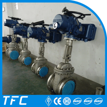 Electric motor operated flange knife gate valve with pneumatic actuator