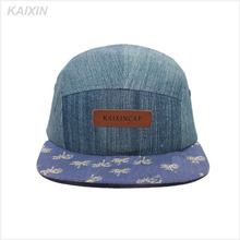 OEM Wholesale denim 5 Panel Cap Hat With Leather Patch Front