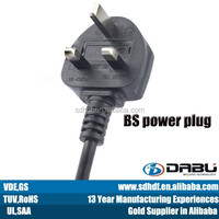 BS approval electric wiring with three flat pins male plug