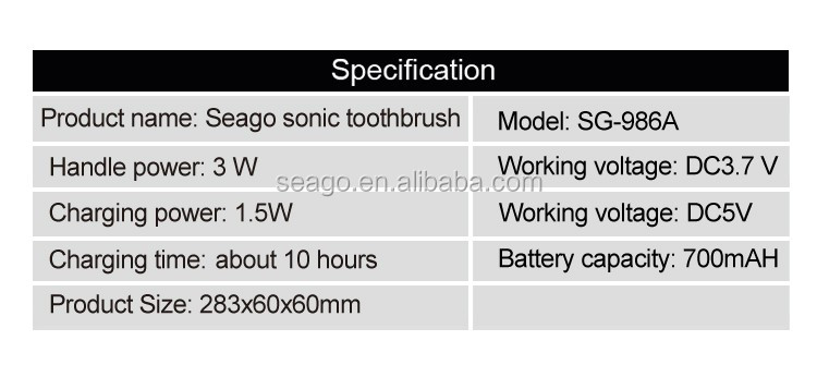 IPX7 Rechargeable patented Sonic Electric Electrical toothbrush SG986