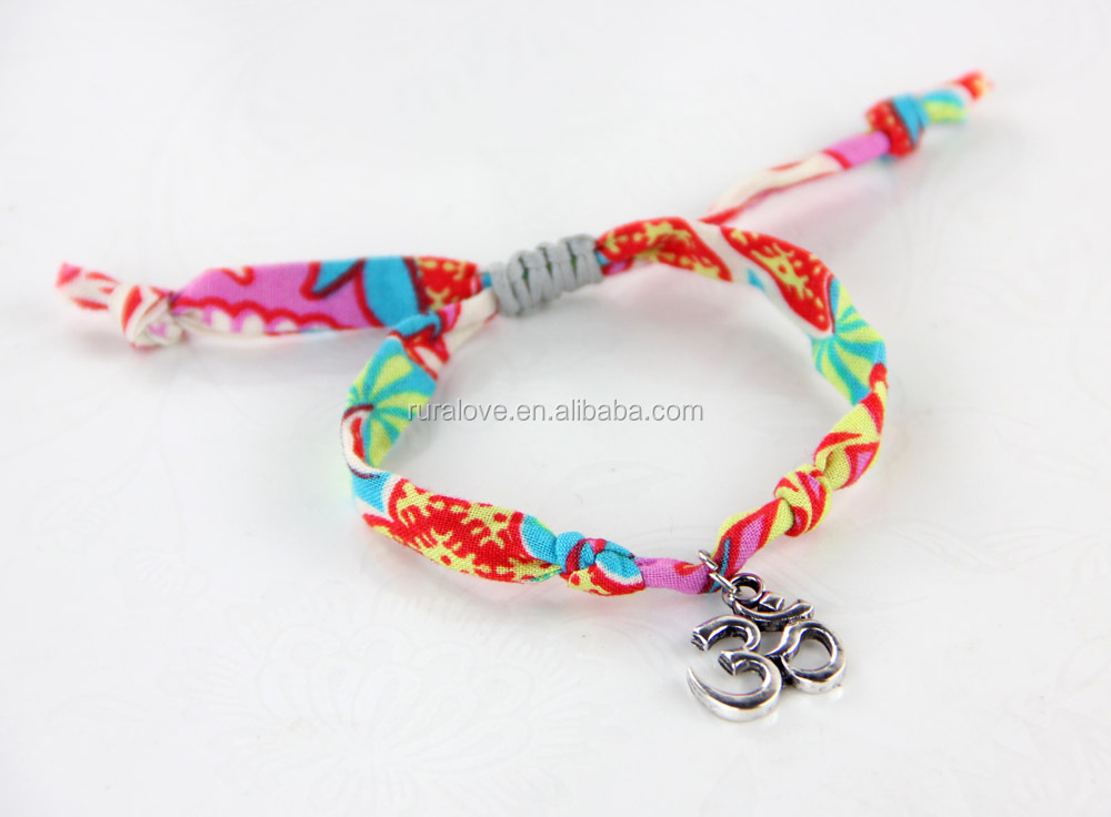 Unique OHM charm liberty fabric bracelet