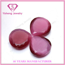 Teardrop Shape Faceted Both Sides Rose Synthetic Glass Cat Eye Stone