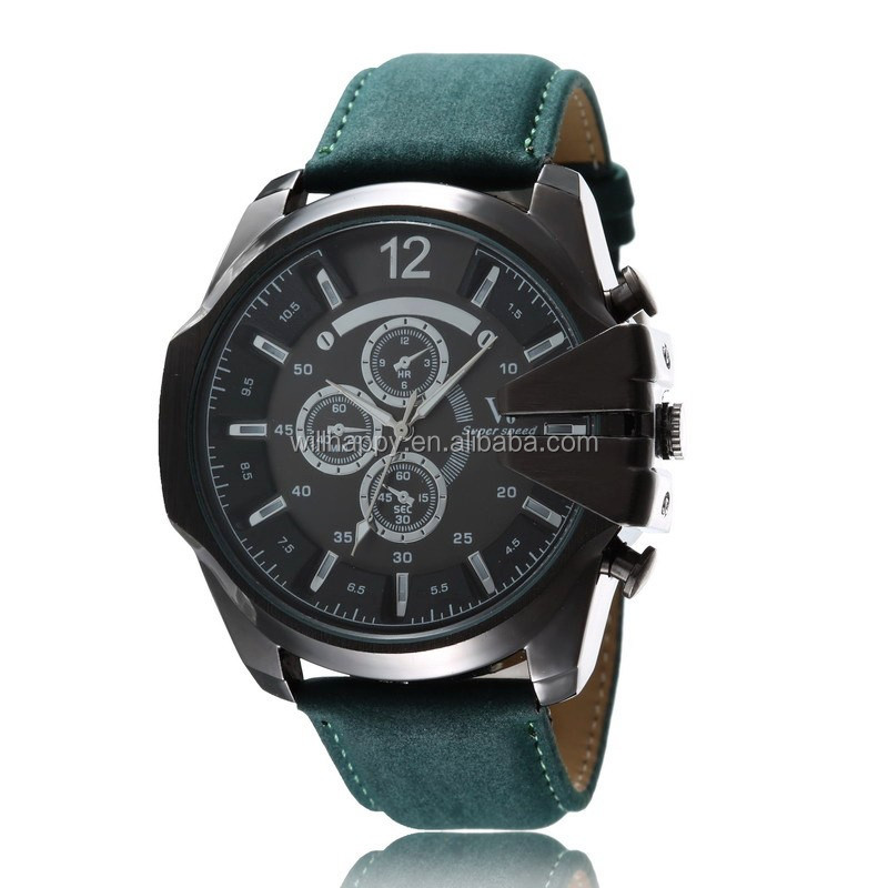 WJ-3067 men attractive V6 leather band vogue hot sale personality creative watch