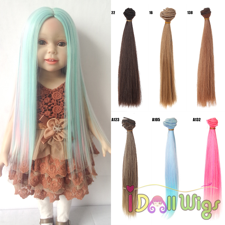 25cm*100cm High-temperature Wire Straight Doll Hair Extension DIY American Girl Doll Wig