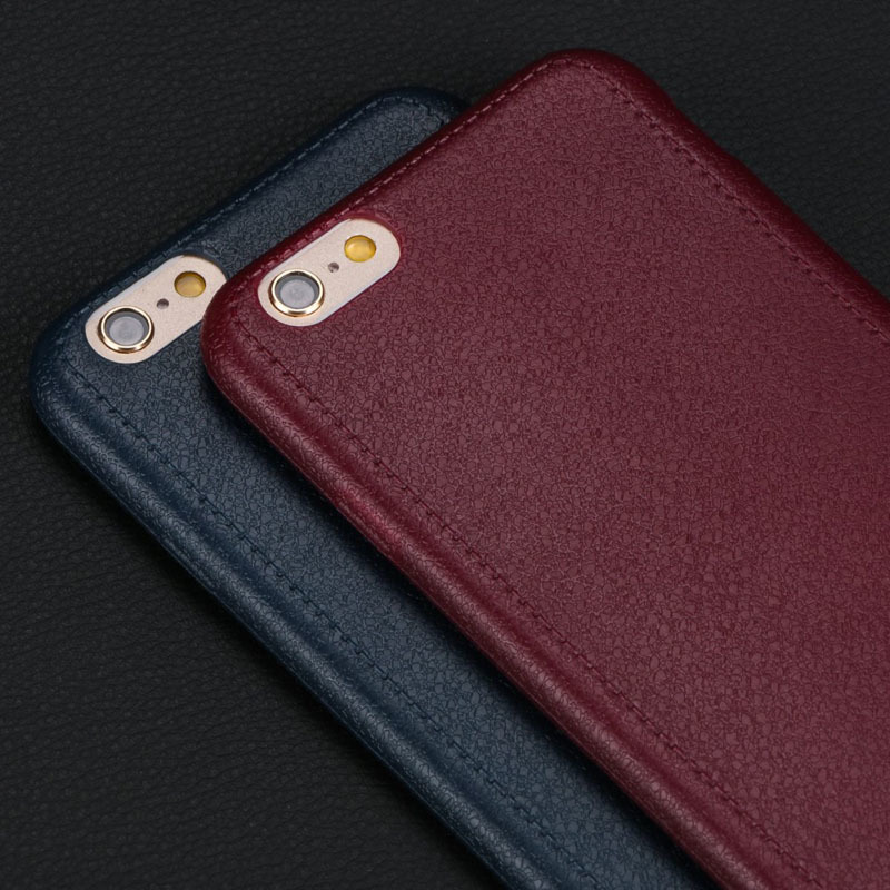 Super Thin Leather Pattern Soft TPU Back Cover Case For iPhone 6 6s