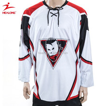 Heavy rib knitted lace-up neck custom team sublimation professional ice hockey Uniform