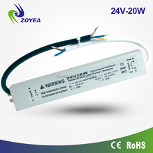 20w 24v/12v CE, RoHs ip67 constant voltage led switching power supply electric transormer