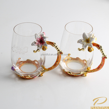 Unique coffee mug with flower lily embellished alloy enamel noble drink cup for wedding gift and promotional