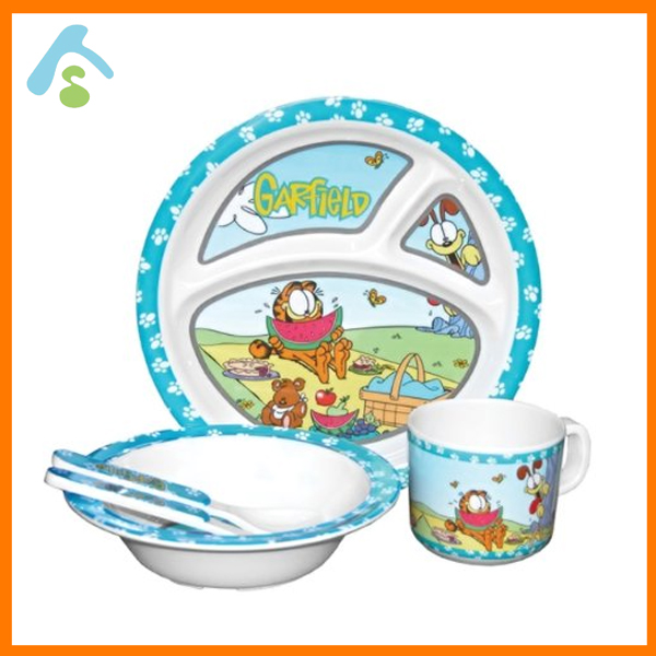 BPA free unbreakable melamine 5pcs kids dinner set