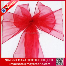 Yiwu supply 7*100'inch red sheer organza chair sashes for wedding party banquet decoration in stock