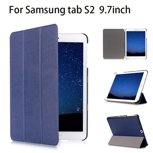 3 folding flip leather case for Samsung tab S2 9.7 inch cover for T810 T815