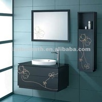LANBOR new modern stylish freestanding single wood and mirror bathroom cabinet sets with sink FS078