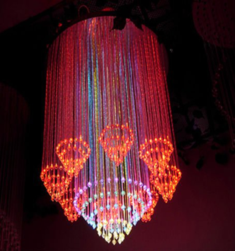 luxury colorful led fiber optic crystal sparkle chandeliers