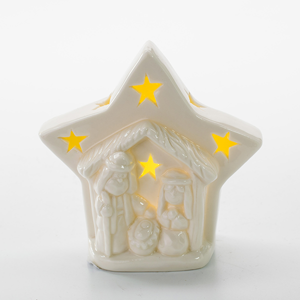 sweet home decoration ceramic religious star battery operated led light