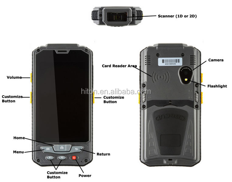Cheapest Factory 4.3 Inch 1D Barcode scanner smartphone with1D Barcode scanner