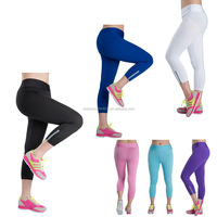 walson Women Work Out Sports Elastic Yoga Training Pants plain with zipper