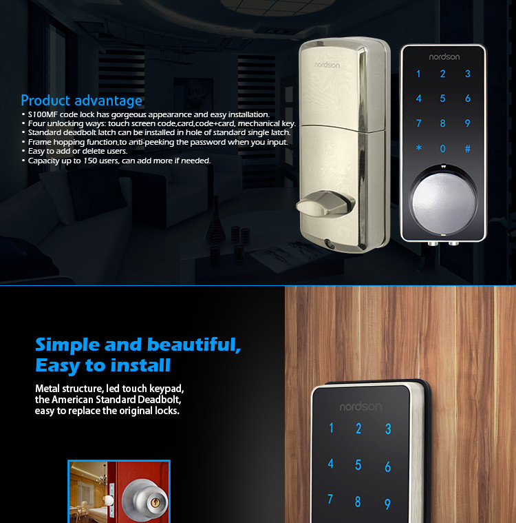 Bluetooth Smart Sensor Entry System Bolt Fail Door Lock