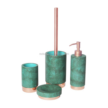 Luxury hotel decoration colorful concrete bathroom sets accessories