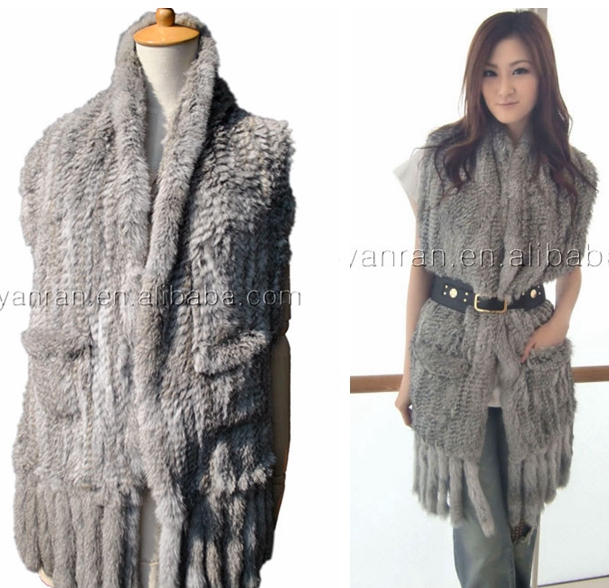YanRan Fur Factory YR017 Top quality Customized size Ladies' Hand knit real Rabbit Fur Shawl with Fringe and Pocket