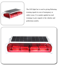 Solar panel powered LED light bar type road warning sign