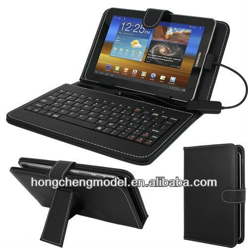 "7"" Wide Leather Case Cover USB Keyboard With Stylus OTG for Android Tablet"