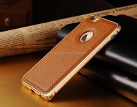 "High quality Phone Case Metal Bumper+Leather Skinning Back Cover cover case for iphone 6 5.5"" china suppliers"
