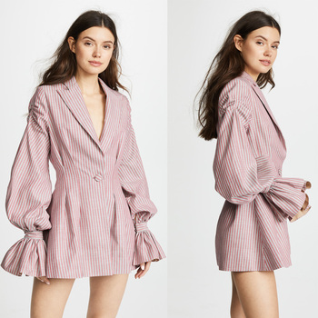 Stripe ballon sleeves V neck blazer mini dress