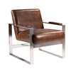 Stainless Steel Arm Antique Real Cow Leather Lounge Chair
