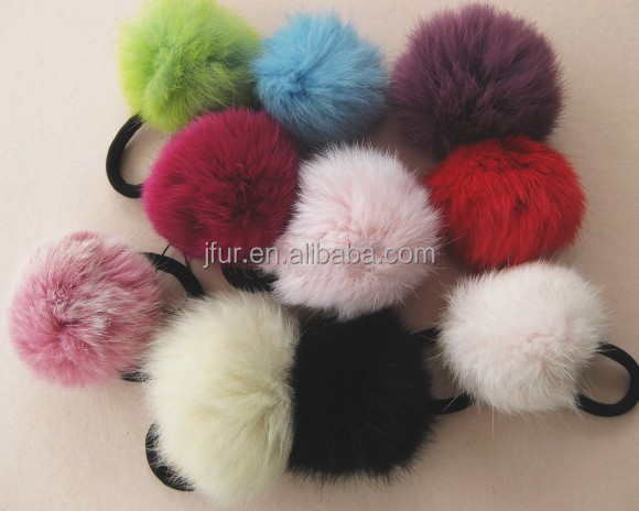 Cute Fuzzy fancy fur pompom ponytail Rope rabbit fur ball hairband