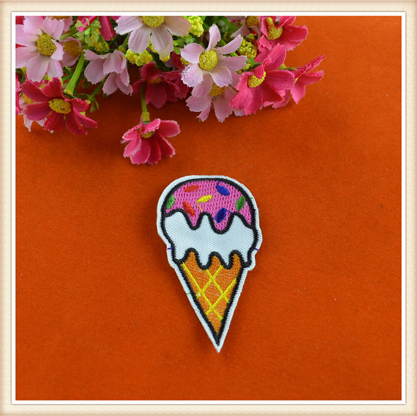 2016 lovely icecream embroidered patch custom embroidery iron on appliques for kids clothing/blouse