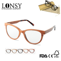 Wooden Cat Eye Frame Glasses,Optical Frame Eyewear With Acetate Terminal LS2946-C3