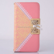 Bowknot wallet leather case lace cover for Samsung I9300