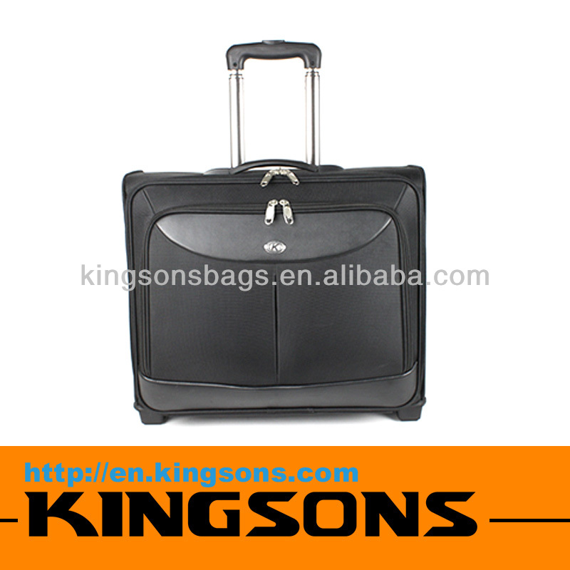 High Quality Leather Laptop Trolley Bags 15.6 Travel Rolling Case
