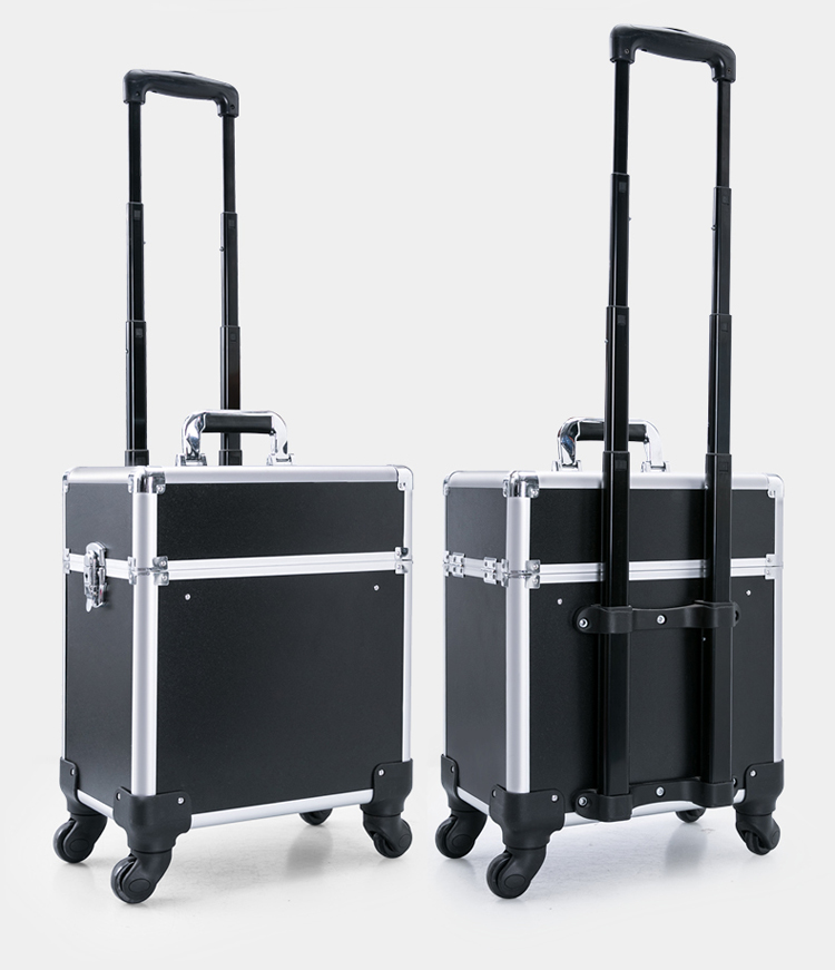 Professional Aluminum Rolling Makeup Trolley Case With Slide Trays