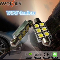 car bulb canbus 6 SMD 5050 W5W festoon DC12V auto led dome light with CE&RoHs