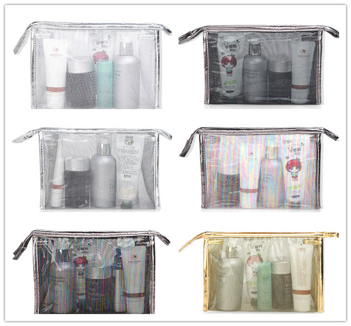 OEM promotional transparent clear pvc cosmetic bag travel makeup bag