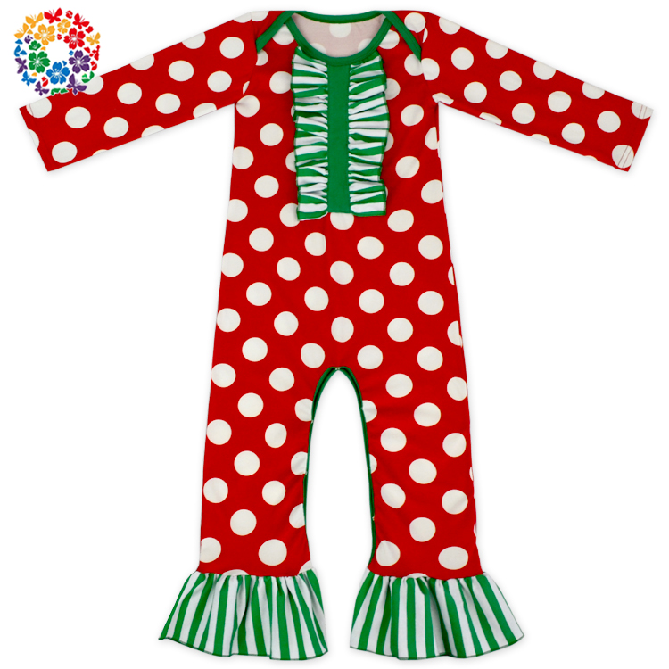 Newest Red And White Polka Dot Kids Romper Jumpsuit Long Sleeve Pants Bulk Infant Rompers Baby Winter Romper For Christmas Day