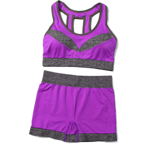 girls fitness seamless bra wearing athletic shorts womens customized sport bra and shorts set