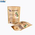 Eco-friendly food grade custom stand up recycle packaging brown kraft paper bag with clear window