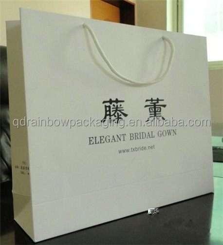 China wholesale paper bag With Ribbon Handle & shopping paper bag with logo print