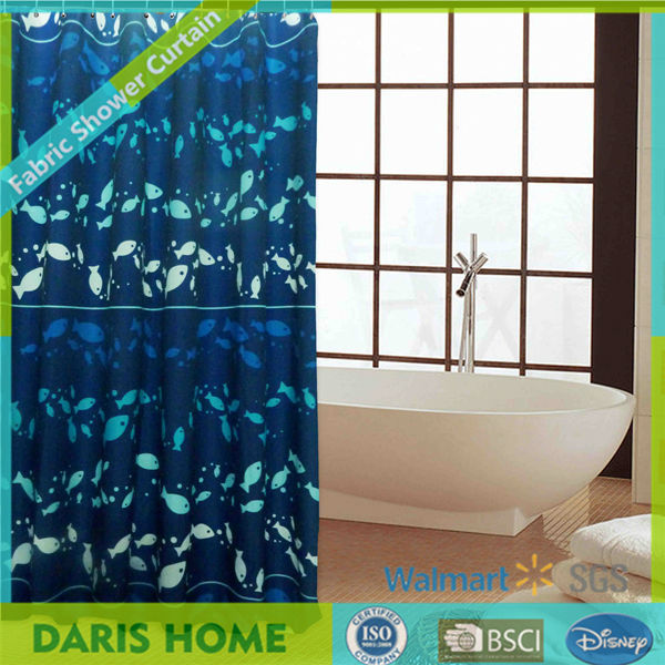 Blue Printed Commercial Blackout Shower Curtain