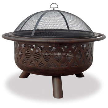 33.5-in W Bronze Steel Wood-Burning Fire Pit